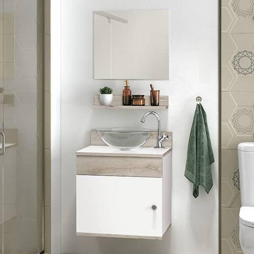Gabinete Armário De Banheiro Pia Espelho Brancobrunello Avanti 44