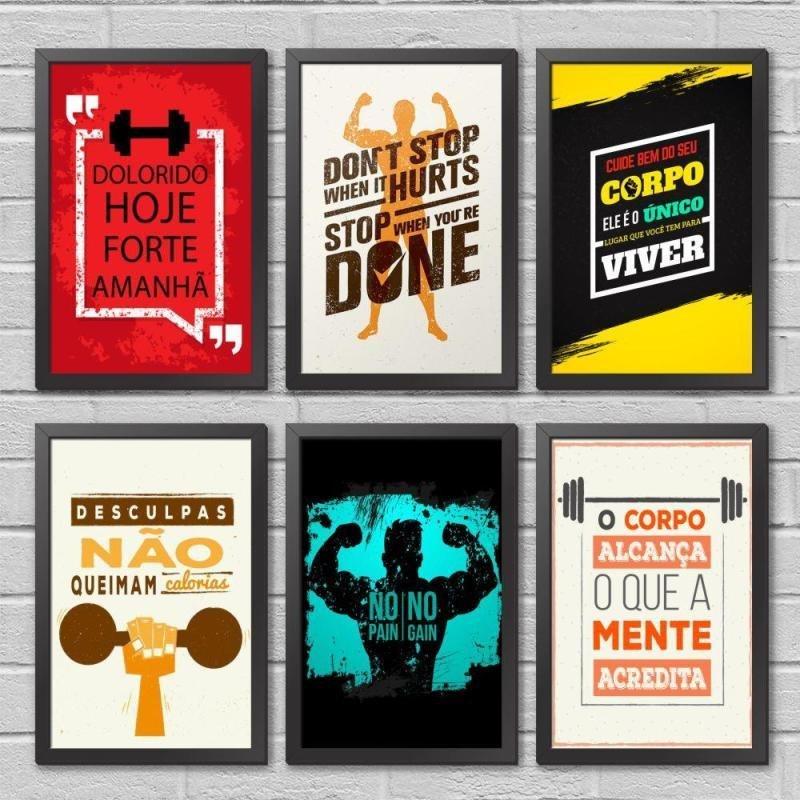 Kit Quadros De Academia Frases Motivacional Com Moldura 6 P