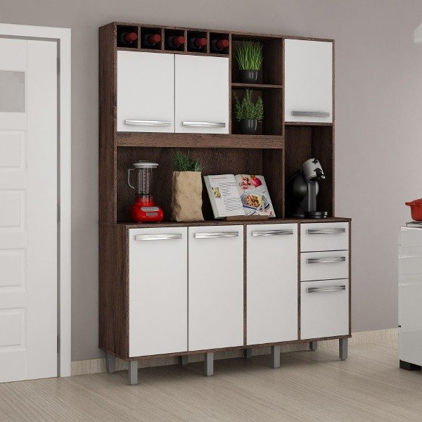Kit Cozinha Granada 07 Portas e 02 Gavetas Valdemóveis - Castanho/Branco - imagem destaque 1