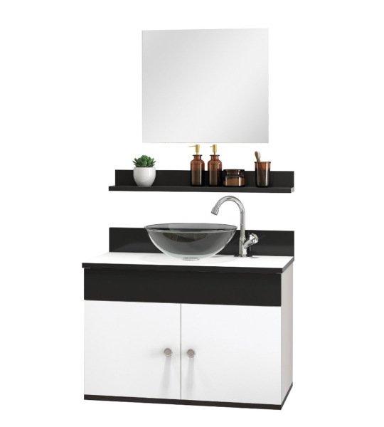 Gabinete Armário Para Banheiro Completo Cuba Prateleira Espelho Astral Design