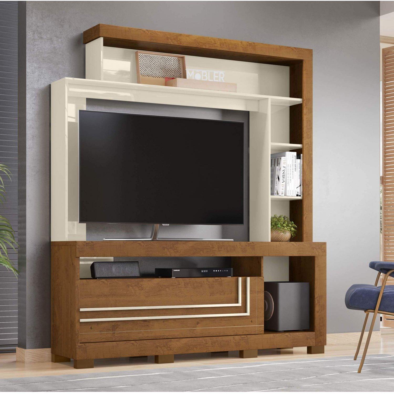 Image of: Estante Home Para Tv Ate 52 Polegadas 1 Porta Nice Belaflex Nature Off White Madeiramadeira