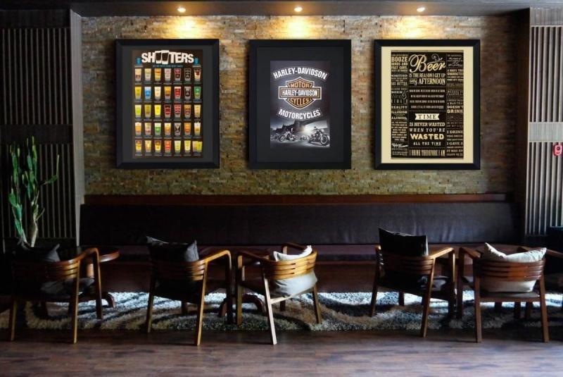 Quadro Decorativo Grande Com Moldura Preta Frases De Bar 90x110cm
