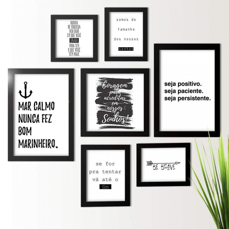 Kit De Quadros Decorativos 7 Peças Frases Motivacionais Los Quadros