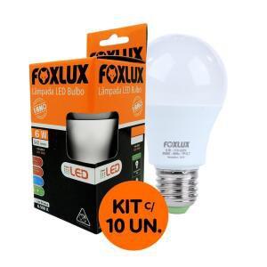 Kit com 10 Lâmpadas LED Bulbo 6W 6500K Luz Branca Bivolt - Foxlux