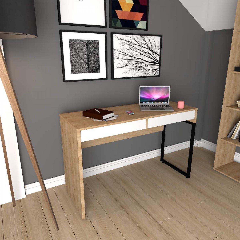 Mesa Para Escritorio 2 Gavetas Desk Siena Moveis Natura Branco Menor Preco Com Cupom