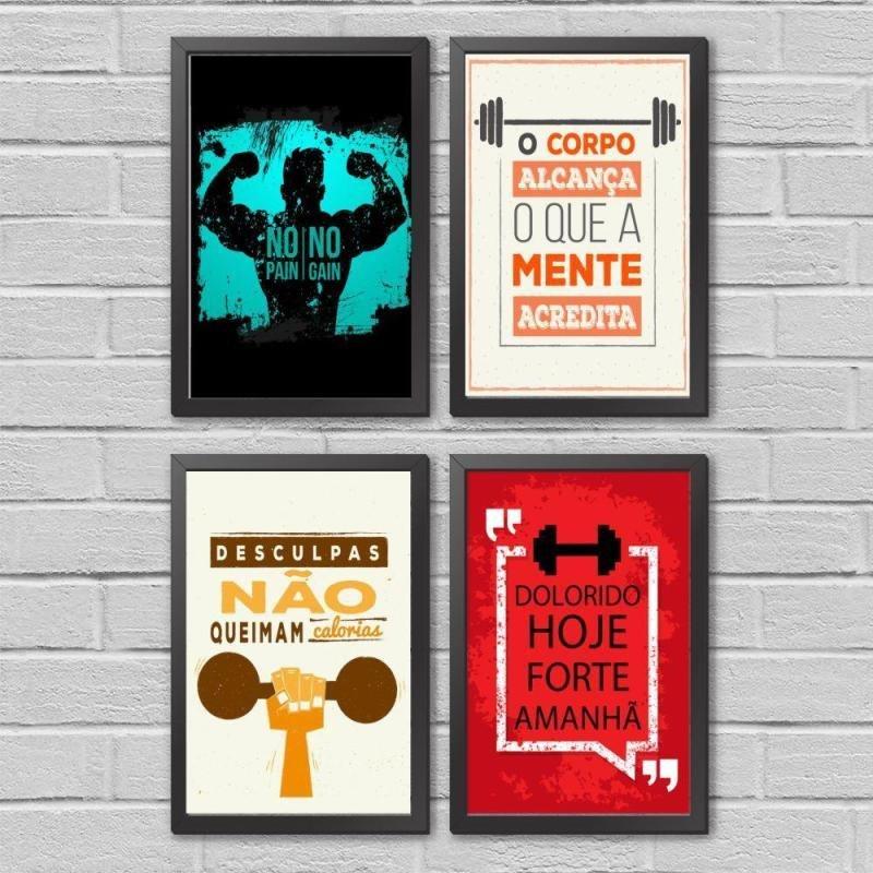 Kit Quadros Frases De Academia Motivacional Com Moldura