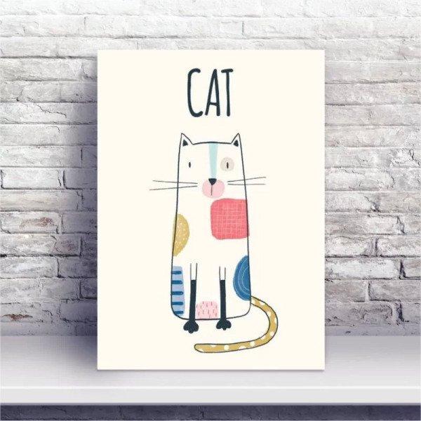 Placa Mdf Desenho Gato Colorido Madeiramadeira