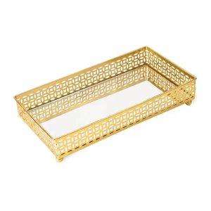 Bandeja Retangular Decorativa Espelhada Dourada 24x12,5CM 09616 Mart