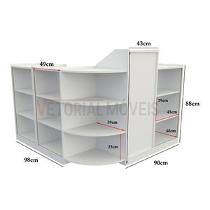 Balcão Caixa Vitrine Com Prateleiras M2 Mdp (exposição Loja) - Branco