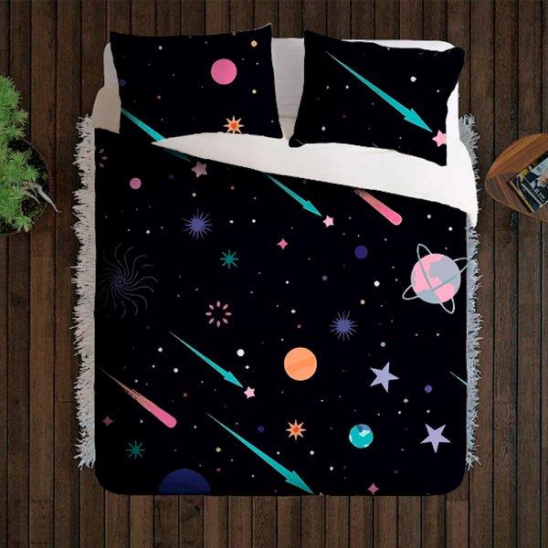 Jogo Cama Casal Desenho Galaxia Estrelas Cadente Color