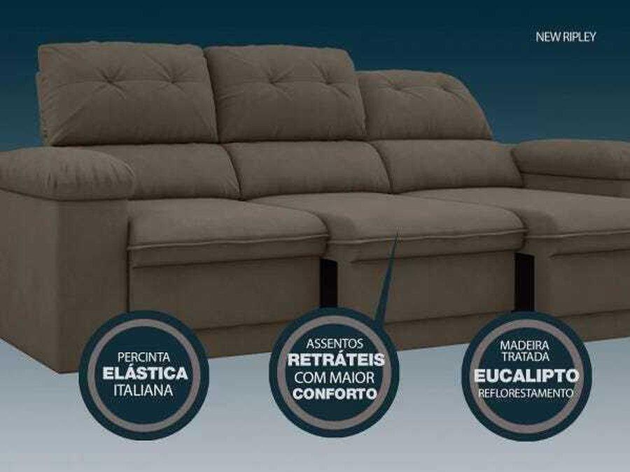 Sofa New Ripley 2 05m Assento Retratil E Reclinavel Velosuede Netsofas Marrom Madeiramadeira
