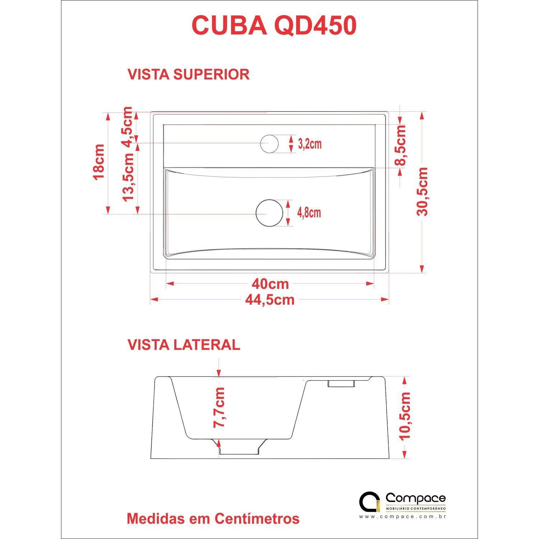 Cuba Q450w Com Torneira E Valvula De Metal Com Sifao E Flexivel Compace Azul Turquesa Madeiramadeira
