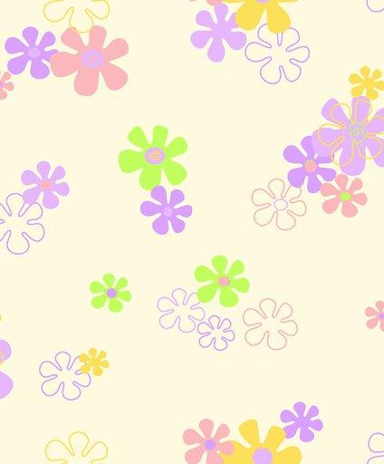 Papel De Parede Desenho De Flores Coloridas Rainbow Sugar F5