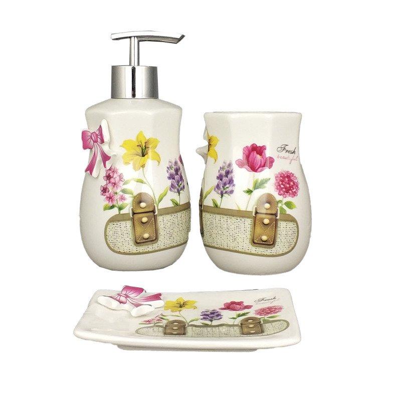 Kit Para Banheiro Em Porcelana Branco Escova Saboneteira Liquido Fresh Beautiful Amigold