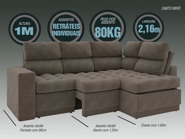 Cool Sofa 4 Lugares Canto Com Chaise Retratil Miro Velosuede 2 Pdpeps Interior Chair Design Pdpepsorg