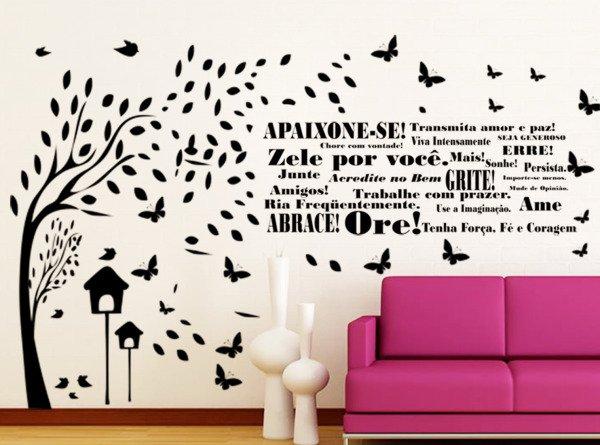 Adesivo Decorativo De Parede Arvore Com Frase Decoração Apaixone Amor Palavras Motivacional