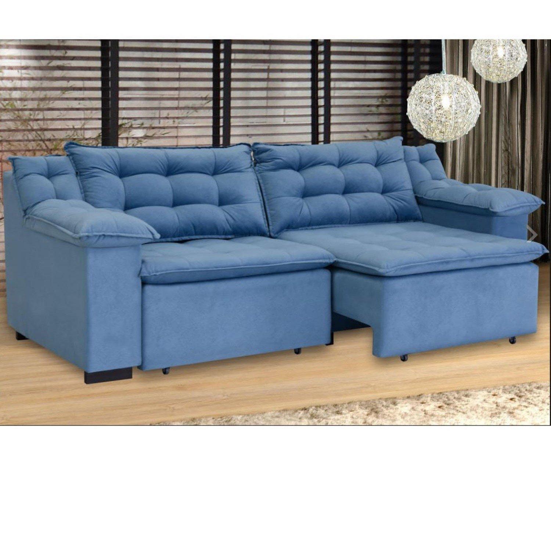 Sofá Retrátil 4 Lugares Suede Confort Umaflex Azul ...