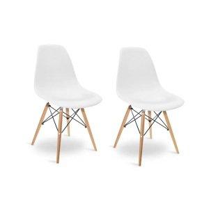 Kit 2 Cadeiras Charles Eames Eiffel Wood Design Branca