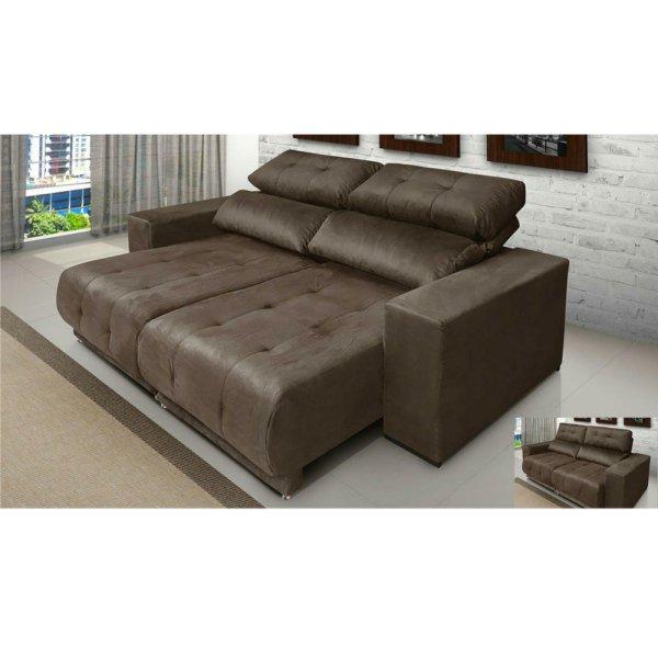 Pleasant Sofa 3 Lugares Reclinavel E Assento Retratil New York Suede Marrom Sofa Mix Machost Co Dining Chair Design Ideas Machostcouk