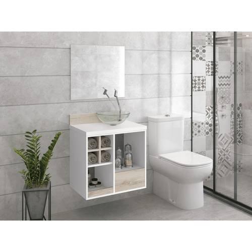 Gabinete Armário Banheiro Pia Espelho Brancobrunello Favo 60